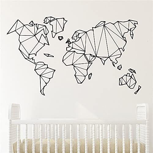 Mapa del mundo geométrico pegatina de pared vinilo mural dormitorio decoración pegatina decoración del hogar pegatina de pared Mural A7 73x43cm