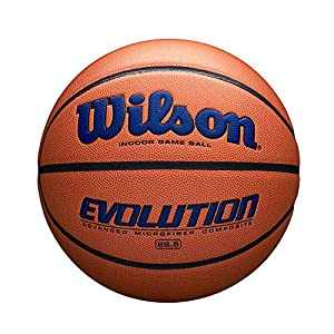 NAVY BLUE: Exclusive navy blue color accents on Wilson and Evolution wordmark logos THE #1 INDOOR BALL: The Evolution is the #1 indoor game basketball in America, on more courts than any other basketball SIGNATURE EVO FEEL: The soft feel that the Evo...