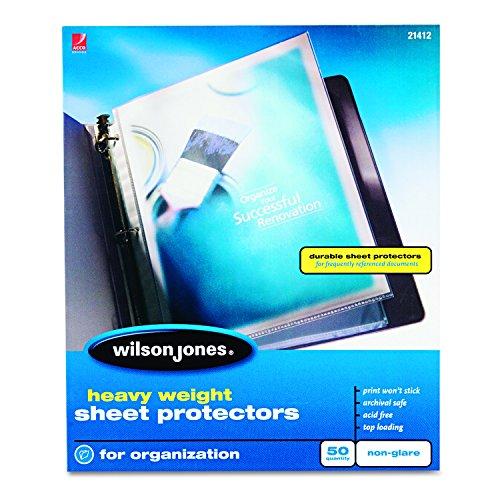 Wilson Jones Sheet Protectors, Heavy Weight, Top-Loading, Non-Glare, 50 Sheets/Box (W21412)