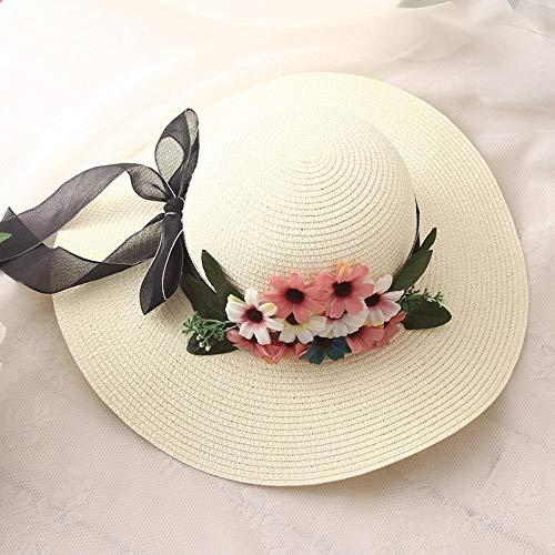 Sombreros De Paja Gorra De Mujer Sombrero De Paja con Flores De Ganchillo Sombrero para El Sol con Lazo para Mujer Sombrero De Playa con Encaje Sombrero para El Sol-Milk_White_Size_ (56-58C