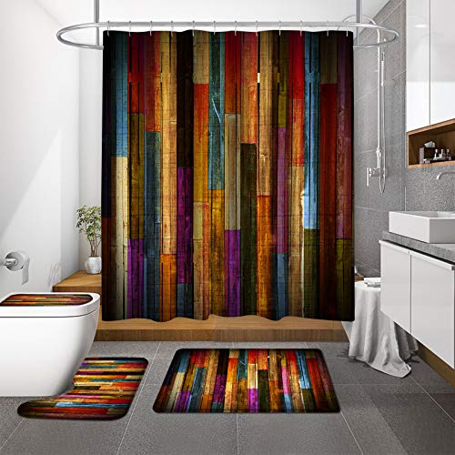 MitoVilla Antique Colorful Wood Shower Curtain Set, Farmhouse Grunge Wooden Planks Barn House Bathroom Shower Sets with Rugs and Toilet Lid Cover for Vintage Western Country Barn Door Bathroom Decor