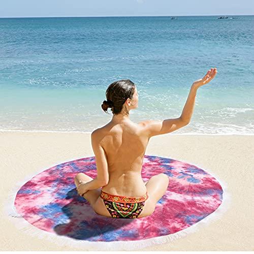 HUSTLE Manta De Toalla De Playa Redonda, Toalla De Playa De Microfibra Redonda con Borlas De Arte Abstracto Toalla De Playa Natural Adecuada para Piscina De Playa Al Aire Libre (60 Pulgadas),Rosado