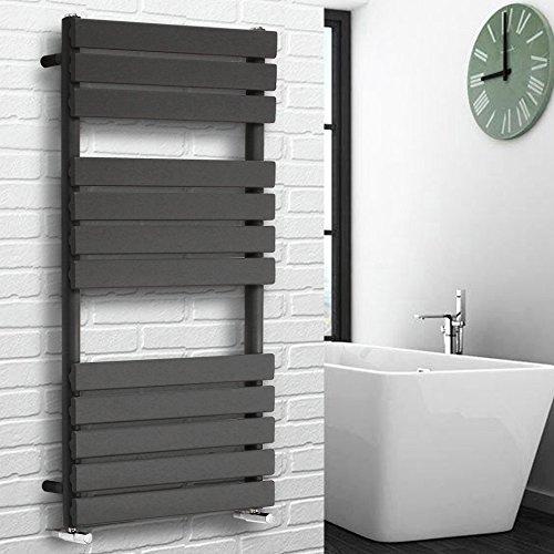 NRG Contemporary Flat Panel Bathroom Heated Towel Rail Radiator Rad Warmer - 1200 x 600 Anthracite