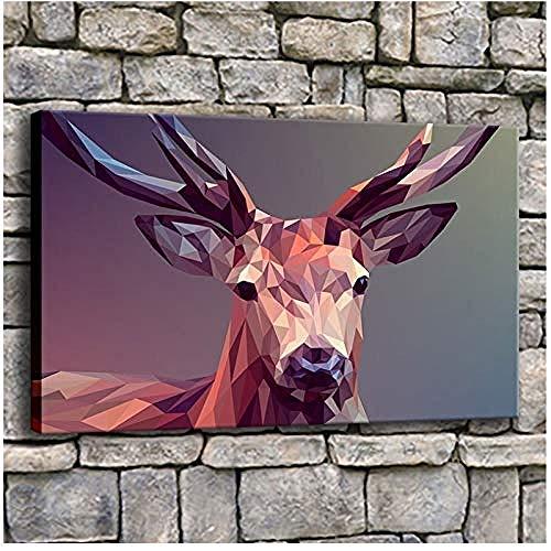 Canvas print,Foto's 1 stuk geometrische herten schilderij woonkamer prints abstracte polygonen facet elanden poster Home Decor-50x80cm