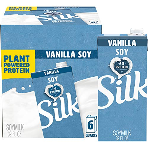 Silk Vanilla Soymilk 32-Ounce Aseptic Cartons (Pack of 6), Vanilla Flavored Non-Dairy Soy Milk, Individually Packaged, Dairy-free Milk
