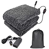 """Zento Deals Sherpa Fleece Blanket - Electric Fast Heating Warm Blanket – Car and Home Adaptable for All Time Use – Premium Quality and Great for Home and Traveling- Full Body Size (59"""" x 43"""" )"""