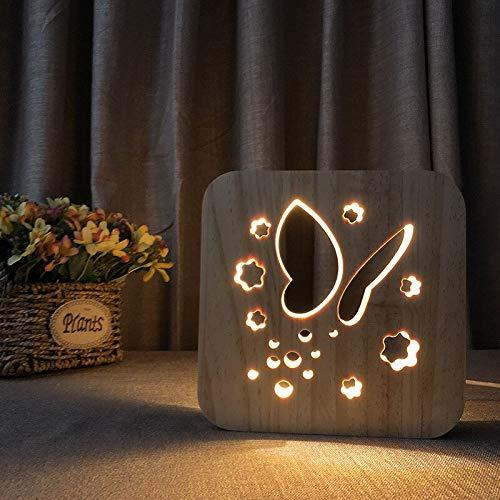 Solo 1 pieza Lámpara de madera de mariposa creativa Lámpara de mariposa hueca Lámpara de mesa LED blanca cálida Luz de noche tallada en madera maciza