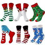 INLUCK Weihnachten Socken für Damen Frauen - lustige Geschenke für Frauen Weihnachten Neuheit Baumwolle Crew Socken Set mit bunten Designs 6 Paar Weihnachtssocken Damen Christmas Socks 39-42