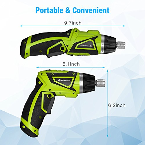 Powerextra Cordless Rechargeable Screwdriver 3.6-Volt 2000mAh Li-ion MAX Torque 6N.m Screw Power Gun with 6+1 Torque,30pcs Driver Bits,USB Charging Cable,Wine Opener