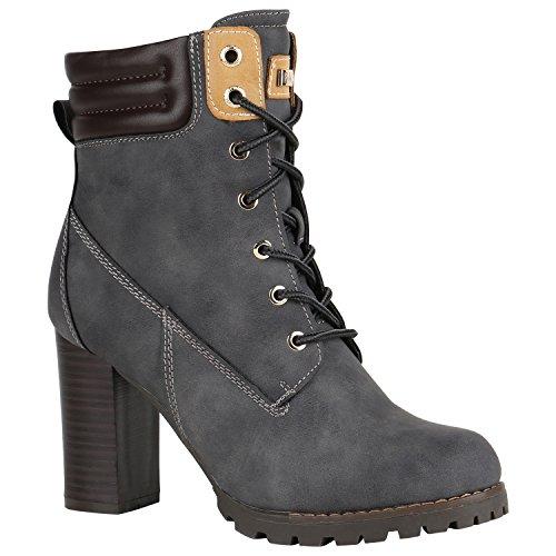 Damen Schuhe Schnürstiefeletten Worker Boots Stiefeletten Block Absatz 150550 Grau Autol 36 Flandell