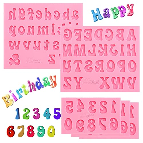5 Pieces Silicone Letters Molds and Numbers Molds with 0-9 Numbers and Uppercase/Lowercase Alphabet Mold for Baking Desserts, Candy, Chocolate Covered Strawberries, Cake Decoration