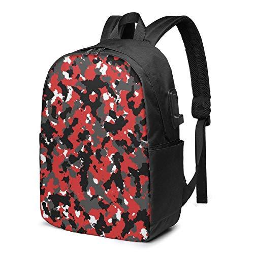 BGDFN Mochila unisex para niños de 17 pulgadas USB de camuflaje rojo multipropósito Daypacks casual para hombre mochila para viajes