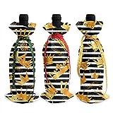 Motif de couronnes d'or 3Pcs Couverture de bouteille de vin Décoration Sacs de couverture pour Noël, mariage, vacances