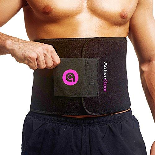 ActiveGear Premium Waist Trimmer Belt Slim Body Sweat Wrap for Stomach and Back Lumbar Support (Pink, Medium: 8