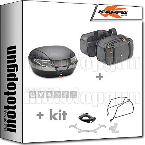 kappa maleta k56nt + alforjas laterales ah202 + portaequipaje monokey + soporte alforjas compatible con suzuki gsx-s 1000 f 2020 20