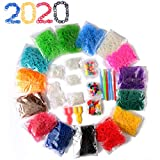 Rubber Bands Bracelets Making Rings Necklaces,Portable Weaving Kit for Jewelry Crafting,15 Colors Rainbow Elastics,14 Charms,300 Clips,6 Crochet Hooks,2 Y Looms,90 Beads (Portable Looming Kit)