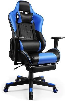 ゲーミングチェア ゲーム用チェア オフィスチェア パソコンチェア リクライニングチェア ゲーム用椅子 オットマン ハイバック ヘッドレスト ランバーサポート ひじ掛け付き PUレザー