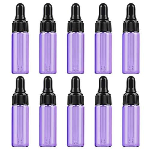 10 UNIDS Botellas de Vidrio con Dispensador de Cuentagotas de Ojo de Vidrio para Aceites Esenciales a Granel Herramientas de Suministros de Bricolaje (Purple)