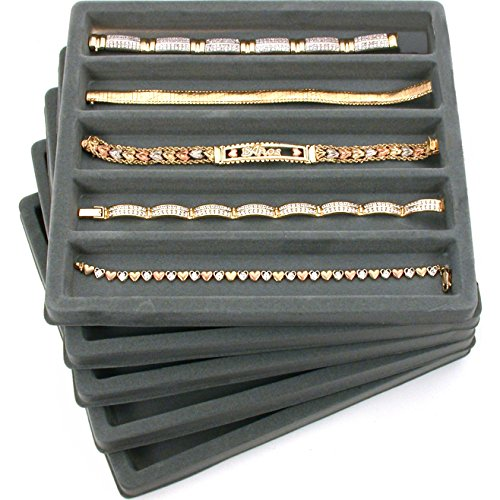 FindingKing 5 Gray 5 Slot 1/2 Size Jewelry Display Tray Inserts
