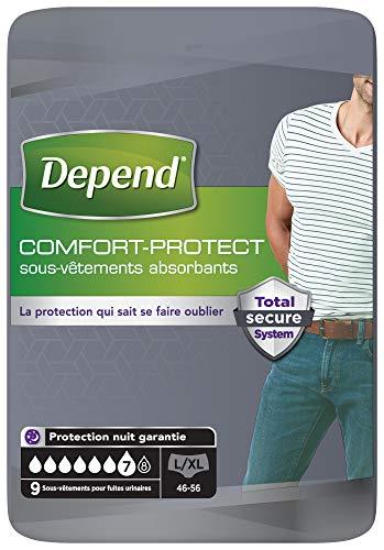Depend Comfort-Protect Sous-Vêtements Homme (7 Gouttes) Taille L/XL pour Fuites Urinaires et Incontinence x54 (6 Paquets de 9 Sous-Vêtements)