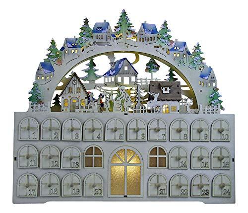 Yanka-style 19884 - Calendario dell'Avvento a LED, in legno, con illuminazione a LED, larghezza ca. 45 cm, colore: Naturale/colorato con edifici illuminati, regalo di Natale