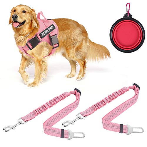 voopet Service Dog Harness (Pink,Large) and 2PCS Dog Seat Belt (Large) with 4pcs Removeable Tags and A Folding Pet Bowl