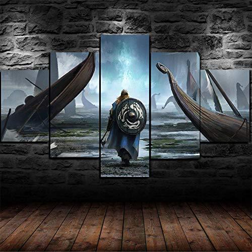 Girdss- Impresión Artística Imagen Gráfica Decoracion- Cuadros Para Dormitorios Modernos Lienzo 5 Piezas Xxl Paisaje De Escena De Batalla De Guerrero Vikingo -Tamaño Del Lienzo: 150 Cm, Altura: 80 Cm.