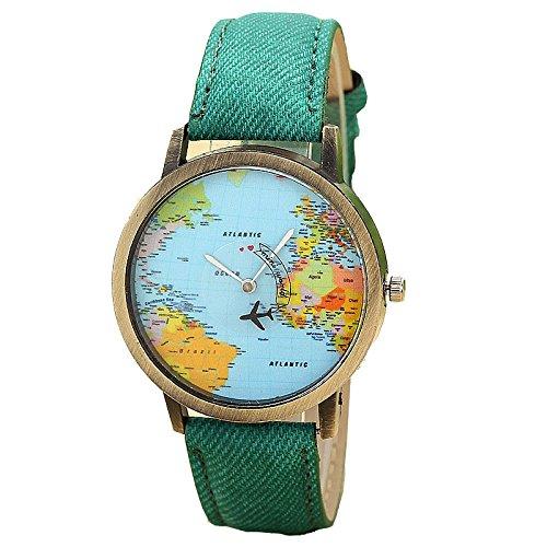 Relojes Pulsera Mujer SHOBDW Mapa Global de Viajes en avión de cinturón análogo Cuarzo Relojes para Mujeres (Verde)