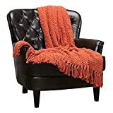 Chanasya Textured Knitted Super Soft Throw Blanket with Tassels Warm Plush Lightweight Fluffy Woven Blanket for Bed Sofa Couch Cover Living Bed Room Burnt Orange Throw Blanket (50x65 Inches) Rust