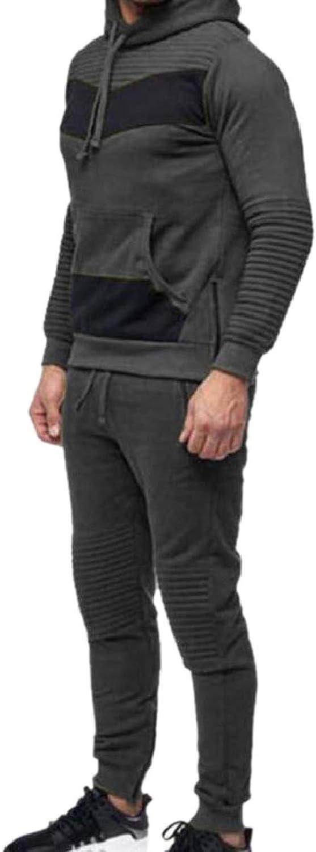 ZXFHZSCA Men Sweatpants Sweatshirts Hip Hop Hoodie Ruched Sweatsuit Tracksuit Set