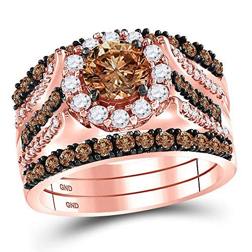 Diamond2Deal Anillo de boda de oro rosa de 14 quilates para mujer, redondo y diamantes de color marrón