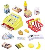Playtastic Kaufladenset: 25-teiliges Kaufladen-Set für Kinder, Kassensystem, LED-Licht & Sound (Kinderkasse)