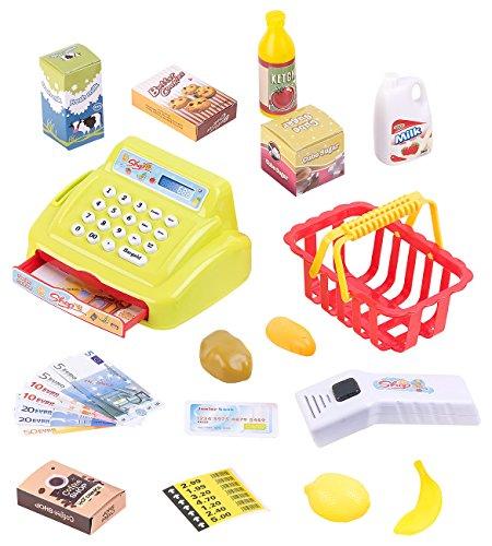 Playtastic Kaufmannsladen: 25-teiliges Kaufladen-Set für Kinder, Kassensystem, LED-Licht & Sound (Kaufladenset)