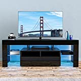 LED TV Stand, High Glossy Modern Entertainment Center LED Lights and Storage Drawers for 60 inch TV, Game Console Table TV & Media Furniture for Living Room Bedroom(Black)