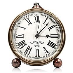5.5 Metal Antique Table Clock, Retro Vintage Non-Ticking Small Alarm Clock,Battery Operated Silent Quartz Movement Desk Gift Clock for Bedroom Living Room Indoor Decoration Kids (Brass-02)