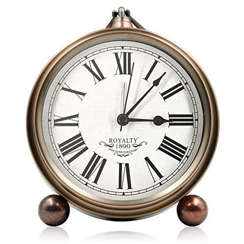 Reloj Despertador Analogico, Metal Despertador Vintage de Cuarzo Silencioso Sin Tictac, Despertador, Reloj de Mesa, Despertadores para Infantil, Estudio, Decoración Hogar, Decoracion Habitacio