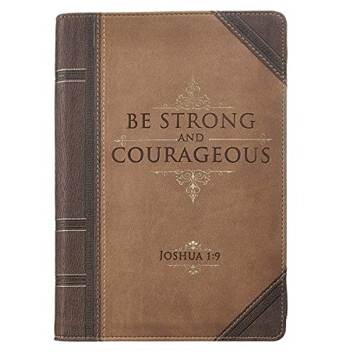 Christian Art Gifts Brown Faux Leather Journal | Antiqued Strong and Courageous - Joshua 1:9 Bible Verse | Flexcover Inspirational Zippered Notebook w/Ribbon and Lined Pages, 6.5 x 8.75 Inches