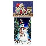 joyMerit 2 Piezas DIY 5D Diamante Bordado Navidad Cruz Puntada Pintura por Kit de Números