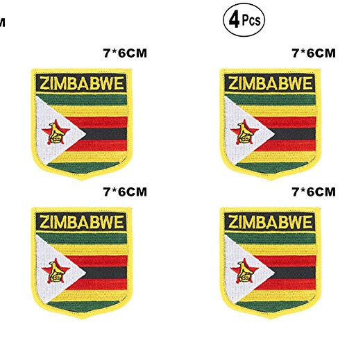 Zimbabwe Shiled Shape vlag patches nationale vlag patches voor Cothing DIY Decoratie