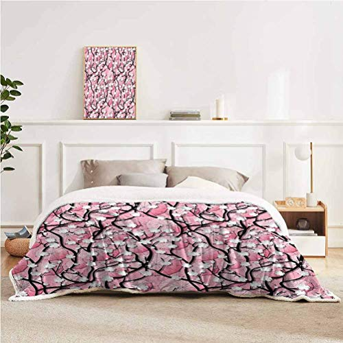 """YUAZHOQI Japanese Throw Blanket for Couch Bed Japanese Sakura Tree Flowers on Umbrellas and Curved Branches Romantic Blooms Art Throw for Girlfriend Best Friend 51"""" x 71"""" Black Pink"""
