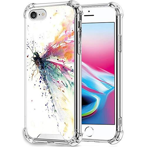 UZEUZA Custodia per iPhone 7/8/SE2 Trasparente Bumper Cover Antigraffio Bordi Chiari con Libellula