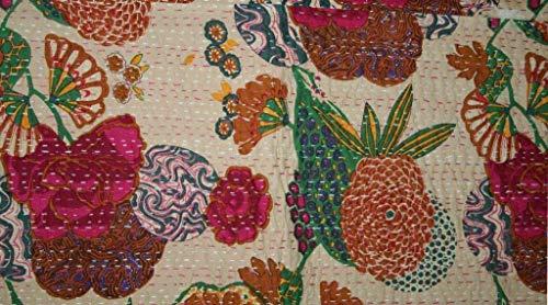 Colcha Kantha con estampado de frutas beige, colcha Kantha de algodón, colcha Kantha, colcha Kantha, tamaño queen, colcha Kantha decoración de dormitorio Kantha