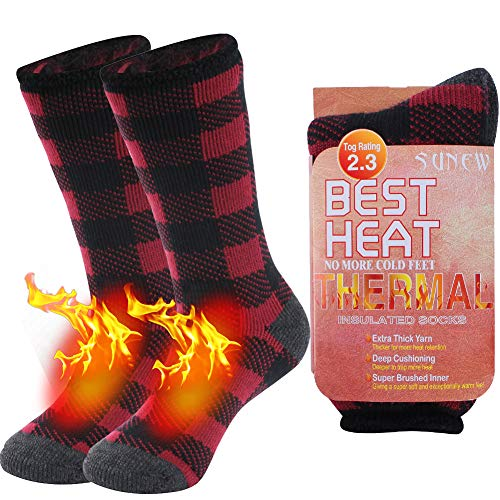 Women's Thermal Camping Socks, Sunew Heavy Boot Cold Weather Brushed Fuzzy Lining Athletic Extremely Warm Non Binding Heat Socks for Outdoors Worker, Indoors Hiking Skiing Socks, 1 Pair Plaid Medium