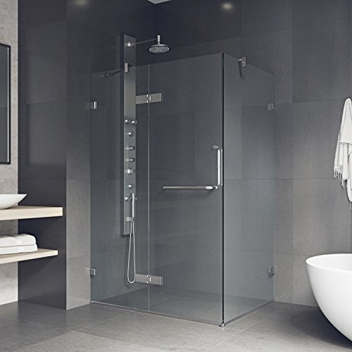 Vigo VG6011CHCL40 Monteray 38.25 in. x 73.375 in. Frameless Corner Hinged Shower Enclosure in Chrome with Clear Glass, 38.25x73.375