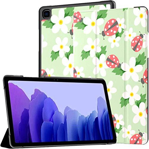 Funda para Samsung Galaxy Tab A7 Tableta de 10,4 Pulgadas 2020 (sm-t500 / t505 / t507), pequeña Flor Mariquita Linda Funda Blanca con Soporte de múltiples ángulos con activación/suspensión automáti