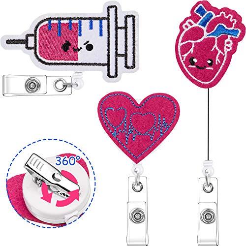 3 Pieces Cute Shape Badge Reel Retractable ID Name Badge Holder with Swivel Clip Felt Badge Reel Nursing Name Badge Reel Holder for Nurse Students (EKG Heart Syringe Style)