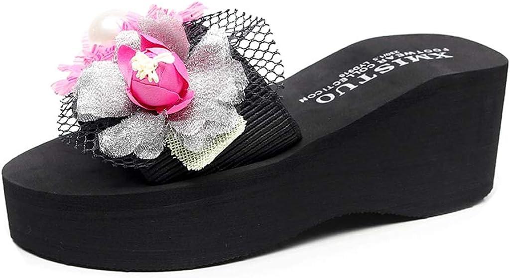 MIOKE Women's Wedge High Heel Slide Sandals Bohemia Flower Platform Antiskid Comfort Summer Beach Sandals