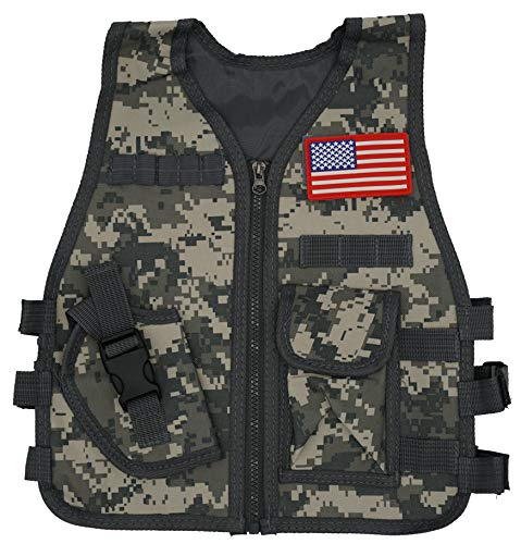 LinnJames Kid's Camouflage Tactical Swat Vest with pockets - Great kids vest for playing swat officer, army, Nerf wars or just a fun costume to wear around the home for both Boys and Girls ages 3 to 8