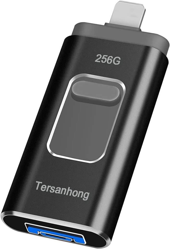 USB Flash Drives 256GB for Phone,Photo Stick Thumb Drive 3in1 USB3.0 1OS Memory Stick Tersanhong External Storage Compatible with Phone, Pad, Android, PC and More Devices (Black )