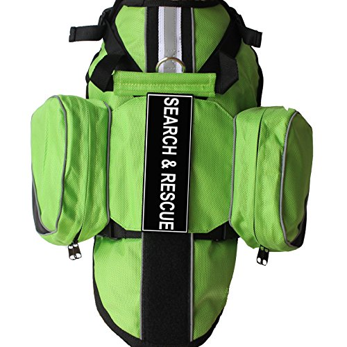 haoyueer Latest Search & Rescue Service Dogs Backpack Harness Vest Removable Saddle Bags with Label Patches(Green,L)